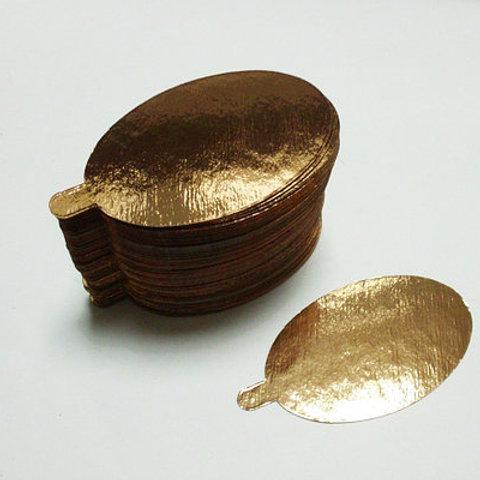 Подложка (0,8 мм) золото с держателем, Овал, 10 шт.