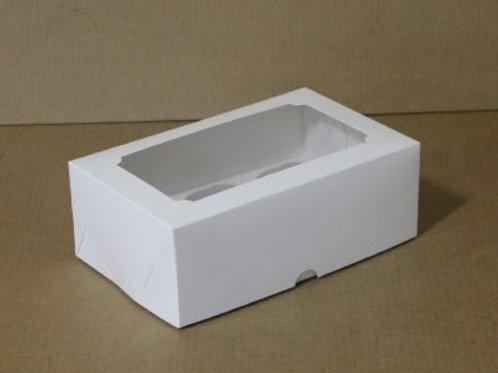 Коробка из белого картона с окном на 6 капкейков