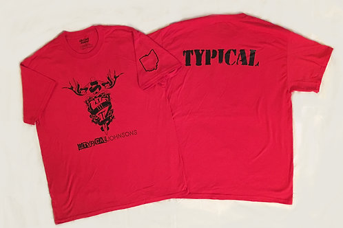"LIMITED EDITION: Release Party Red ""The Typical Johnsons"" T shirt."