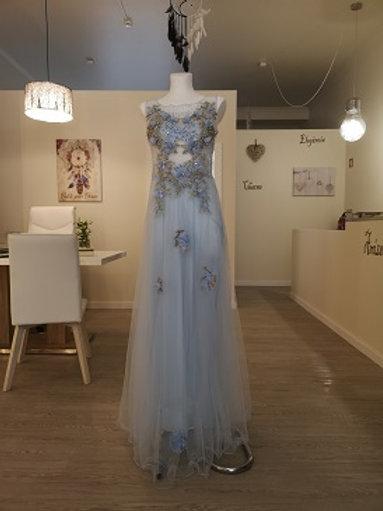 Vestido de gala azul celeste