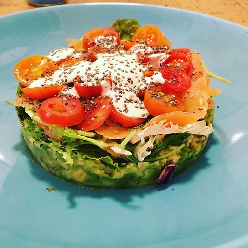 Salmon Avocado Salad with lettuce and ch