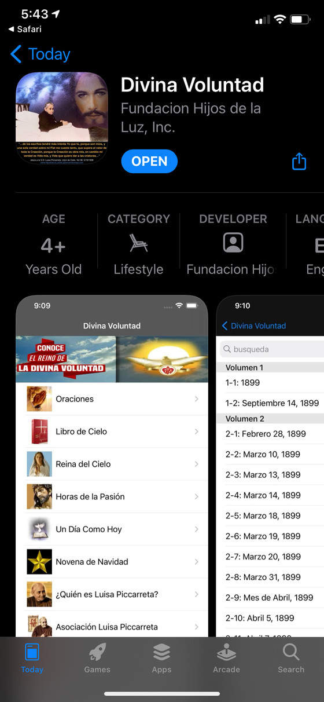 App de Divina Voluntad ahora en el AppStore