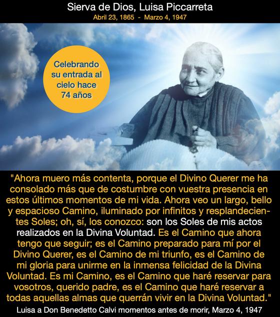 Celebrando 74 años de su entrada triunfal al Cielo
