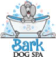 Bark dog spa logo of poodle in bath tub