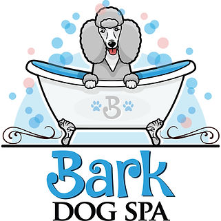 Bark dog spa logo of poodle in bath tub