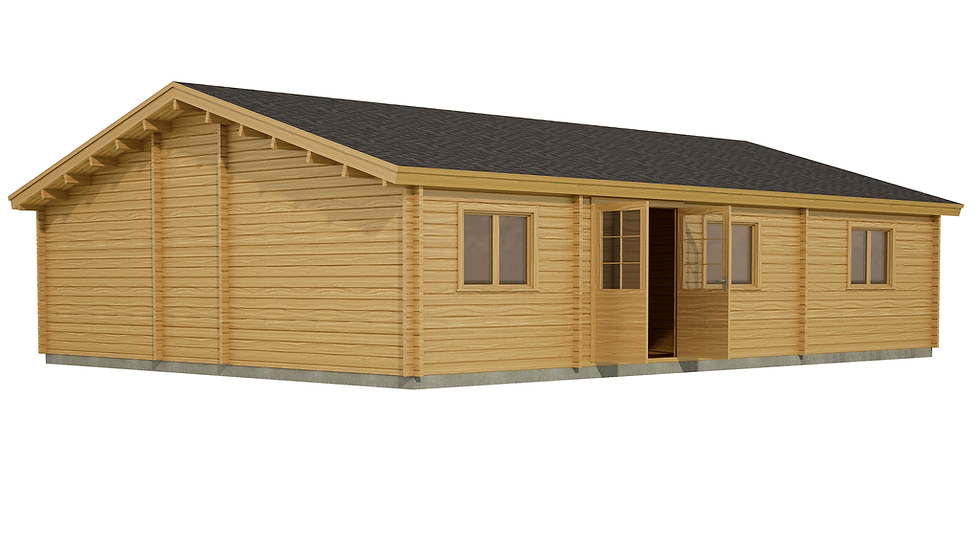Westmeath Log Cabin by Timber Living of  side view of the cabin showing the double door entrance