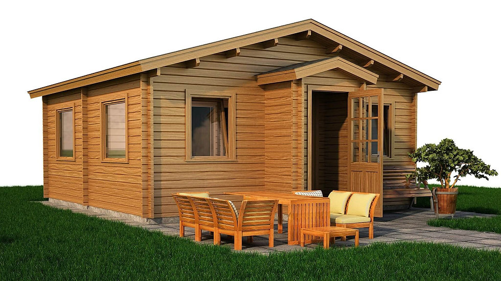 Kerry Log Cabin by Timber Living of  the front view of the cabin situated in grass