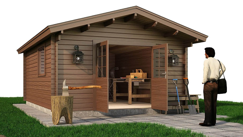 Abbeyfeale Cabin by Timber Living of  front view of the cabin entrance