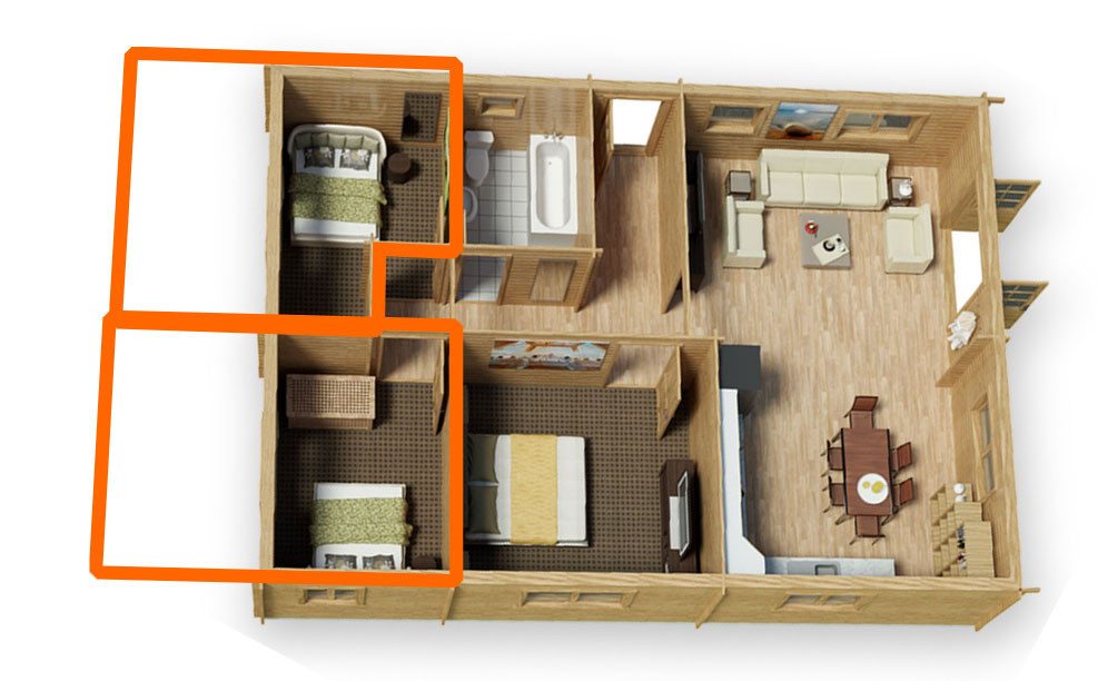 Illustration of extr space afforded by extending your log cabin.