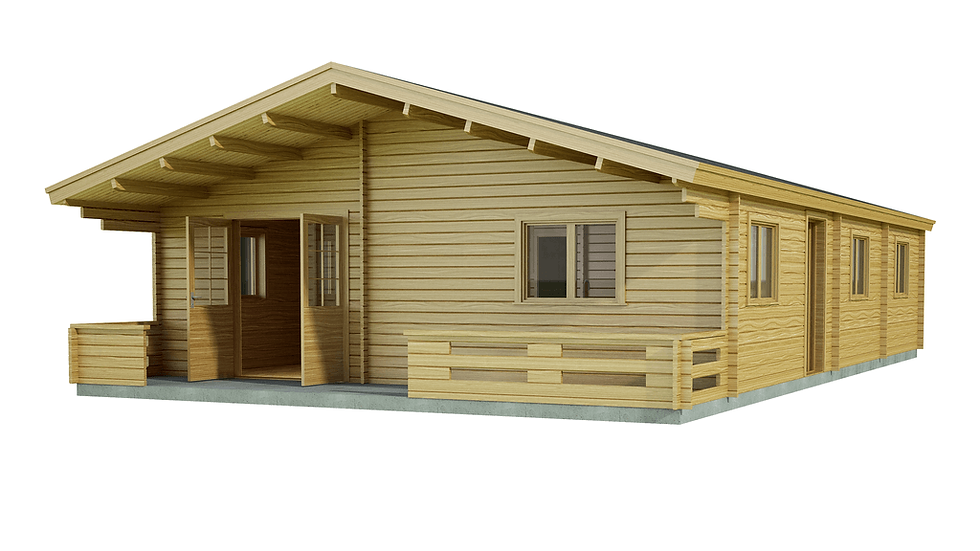 Tipperary Log Cabin by Timber Living of  front view of the verandah, roof overhang and entrance to the cabin