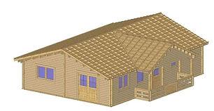 ASHFORD 3 BED LOG CABIN 7.6M X 10.6M & BALCONY TERRACE, THREE BEDROOM