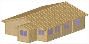 EASKY LOG CABIN SIZE 11.8M X 9.M TWO BEDROOM