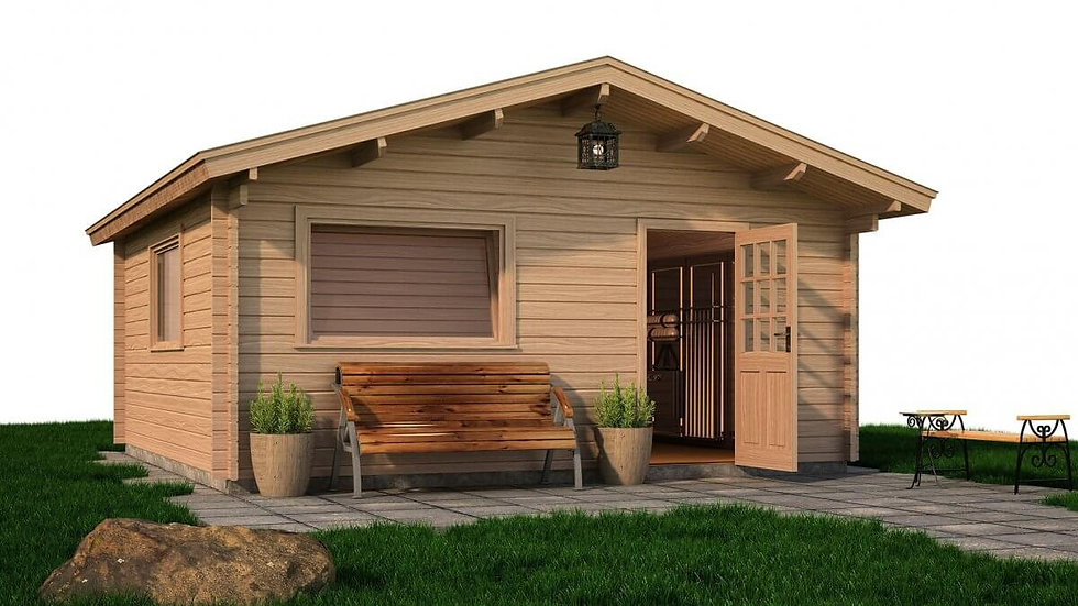 Conry Cabin by Timber Living  with the front double doors open