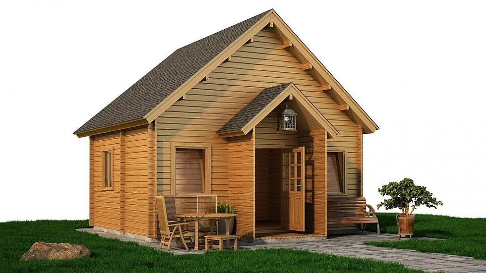 Arklow Log Cabin by Timber Living of  Front View of the cabin with pathing and grass around it