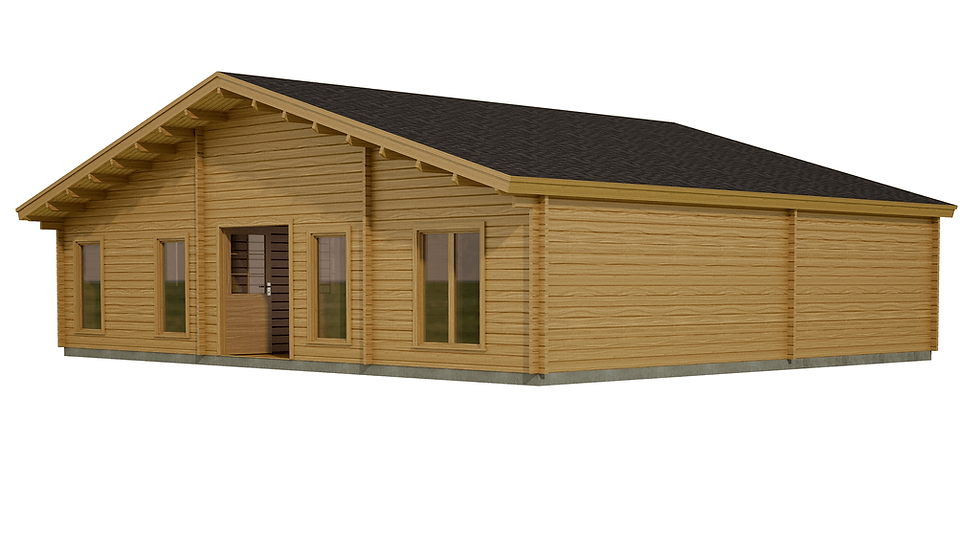 Laois Log Cabin by Timber Living of  a side view of the cabin showing the enormous size of the cabin to live in