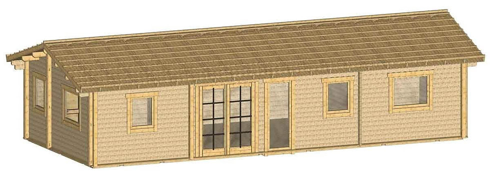 Spiddal Log Cabin by Timber Living of  side view showing the sliding door entry and windows