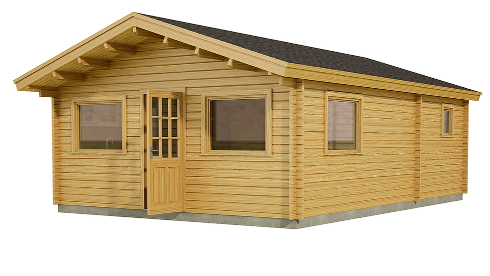 Roscommon Log Cabin by Timber Living of  the front view of this small, unique log cabin