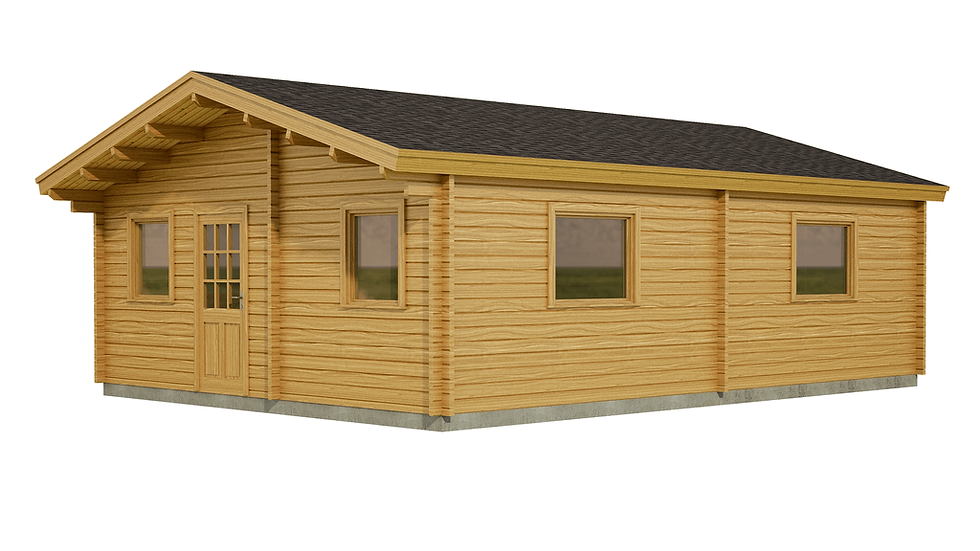 Monaghan Log Cabin by Timber Living of  the side view of front entrance, and windows in this cosy granny flat