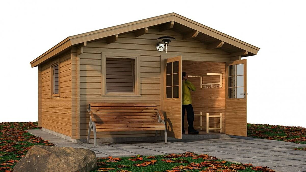 Annagh Cabin by Timber Living  with the front double doors open