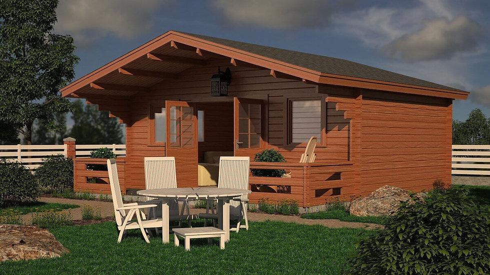 Mohill Cabin by Timber Living  in the back garden in the corner surrounded by grass and pathing
