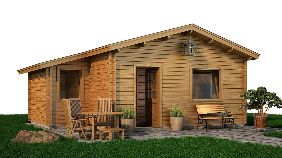 Barna Log Cabin by Timber Living of  Front View of the cabin with pathing and grass around it