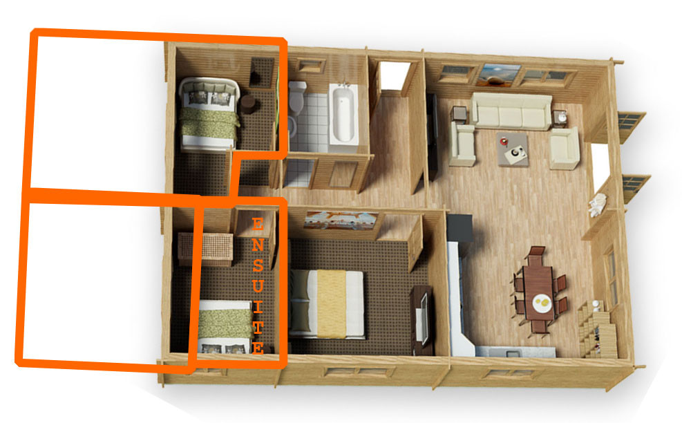 Extend your log cabin and incude and en-suite or walk-in wardrobe
