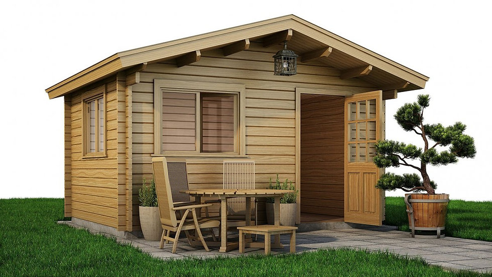 Dunmore Cabin by Timber Living of  the cabin with outside patio