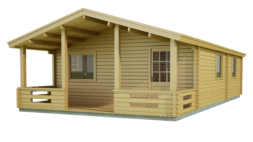 Mayo Log Cabin by Timber Living of  front view of the verandah across the width of the cabin