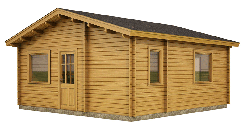 Wexford Log Cabin by Timber Living of  front view of the 1 bedroom cabin