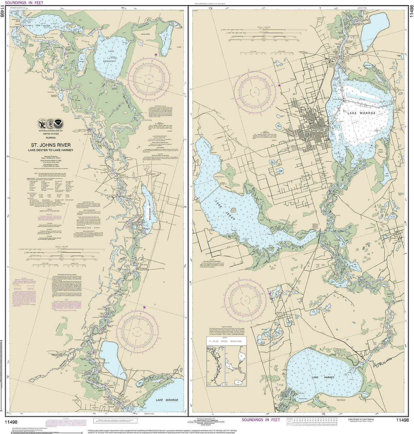St. Johns River Navigational Map 11498-1