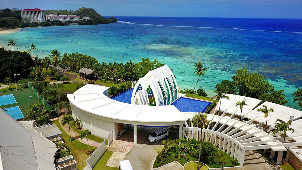Aerial shot of a hotel in Guam