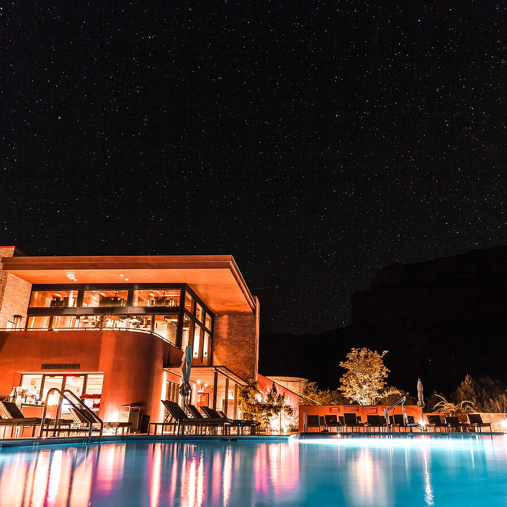 Starry night sky over gorgeous pool and home in Sedona