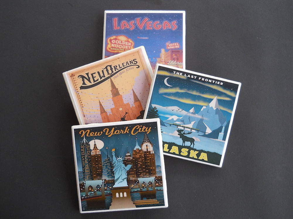 travel coaster set from Etsy