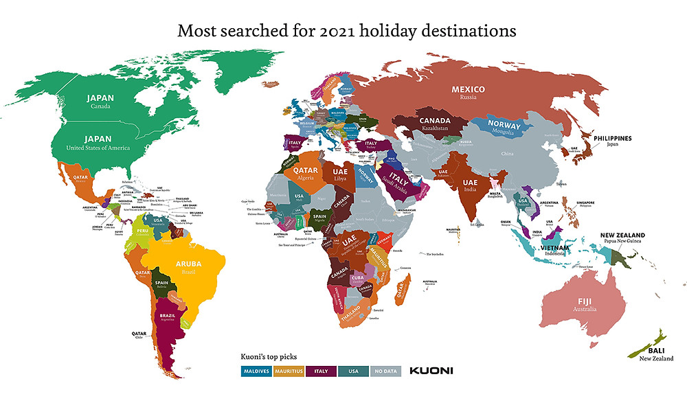 Most searched for 2021 holiday destinations map from Kuoni