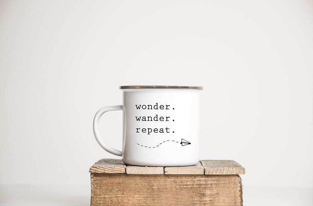 Wonder Wander Repeat mug from Etsy