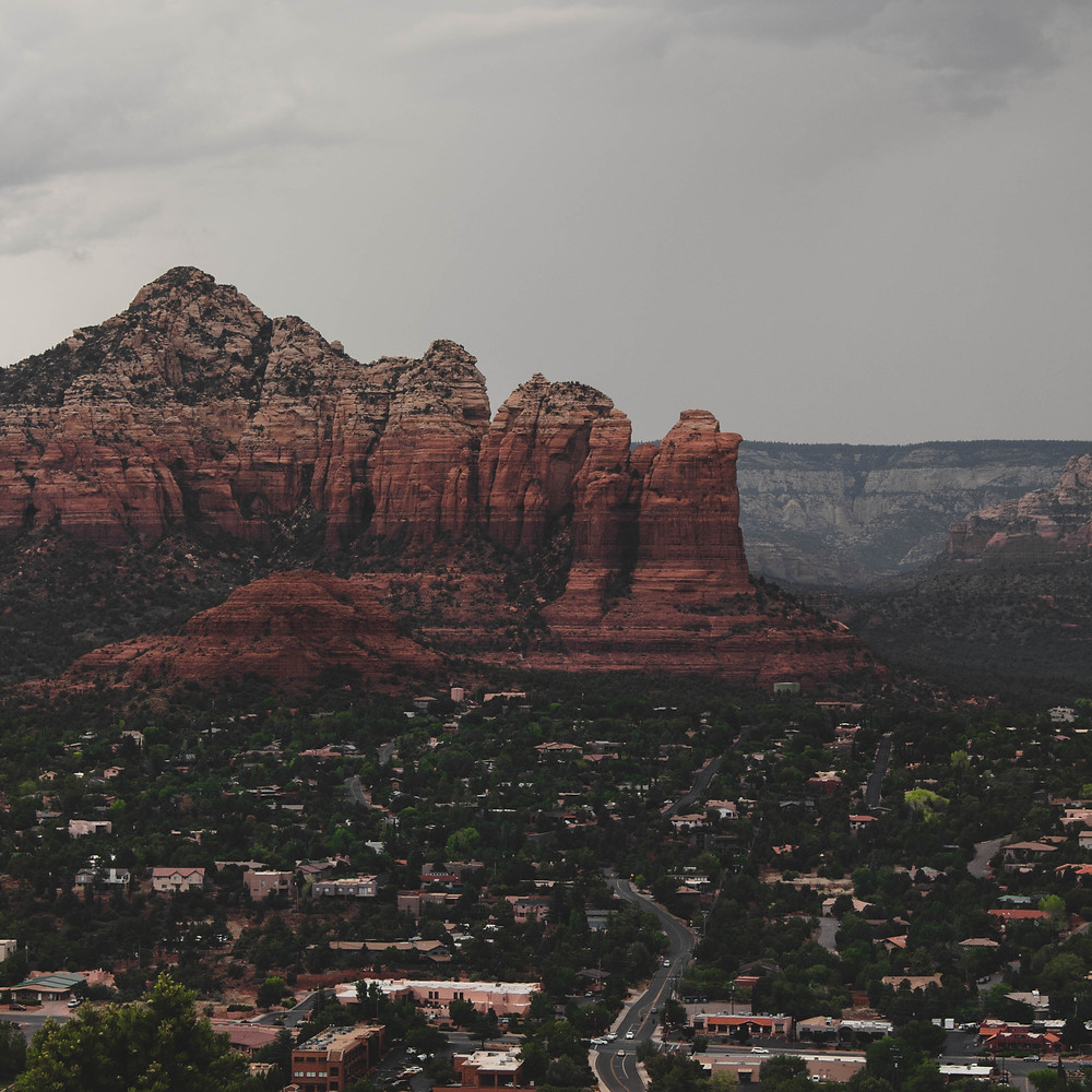 Aerial overview of Sedona on a cloudy day