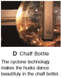 D Chaff Bottle This machine is very fast and  quiet and user-friendly making it accessible even to a person with no experience in roasting.