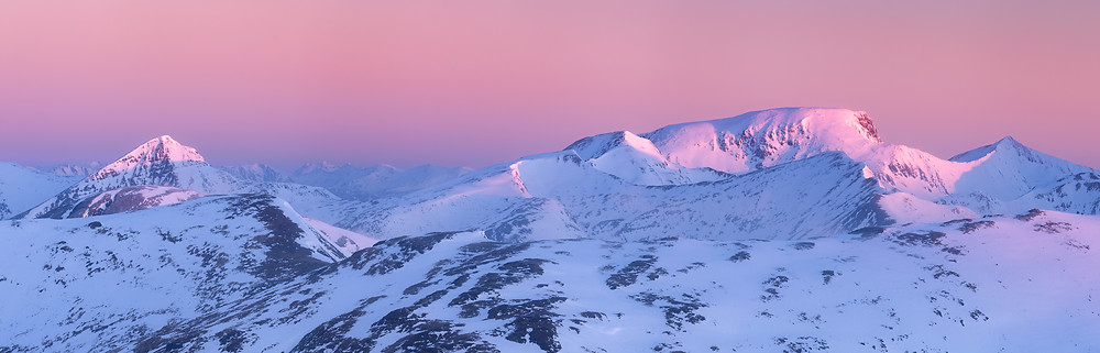 Ben Nevis, the CMD Arete to the right, Carn Dearg is the hill on the left.