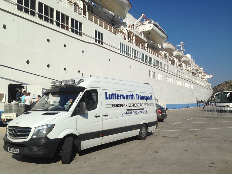 Delivering stores to a cruise liner in Dubrovnik, Croatia