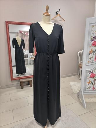 Robe Ada longue,  tissu crêpe noir