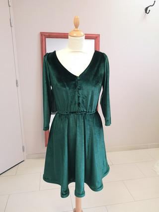 Robe Ada, velours Vert