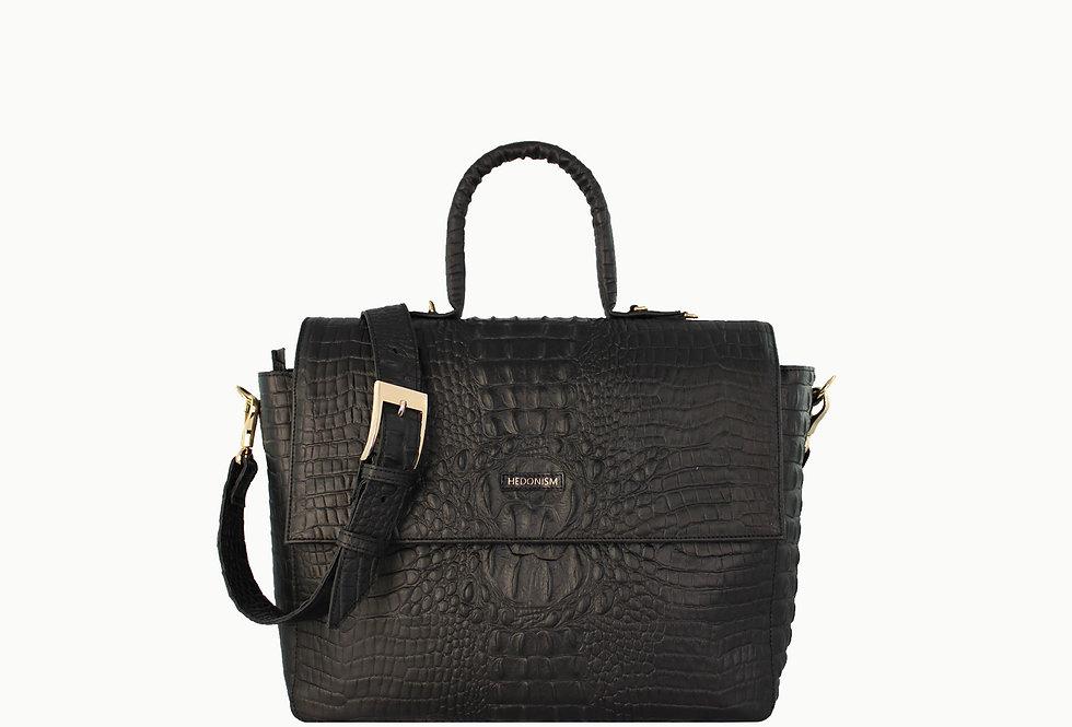 """Vera"" top handle bag, black crocodile SHINY LEATHER"