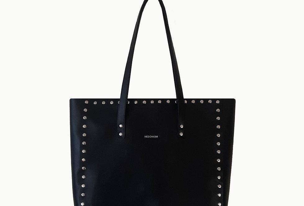 "Shopper ""Night"" black satin leather, szerokość 35 cm"