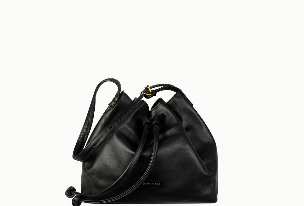 """Le sac"" black satin leather"