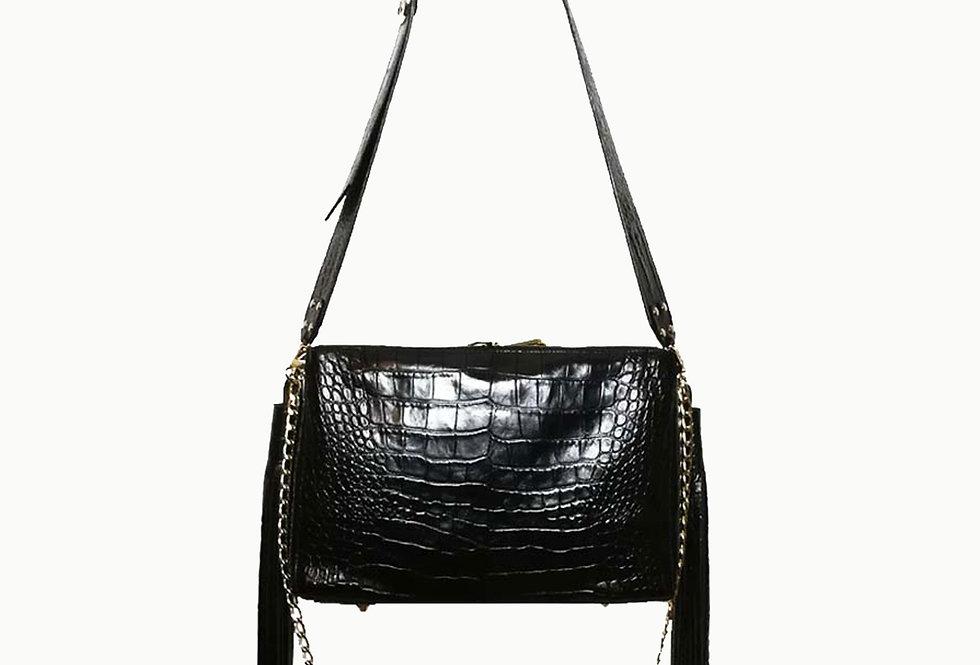 """""""Tassel bag"""" black crocodile"""