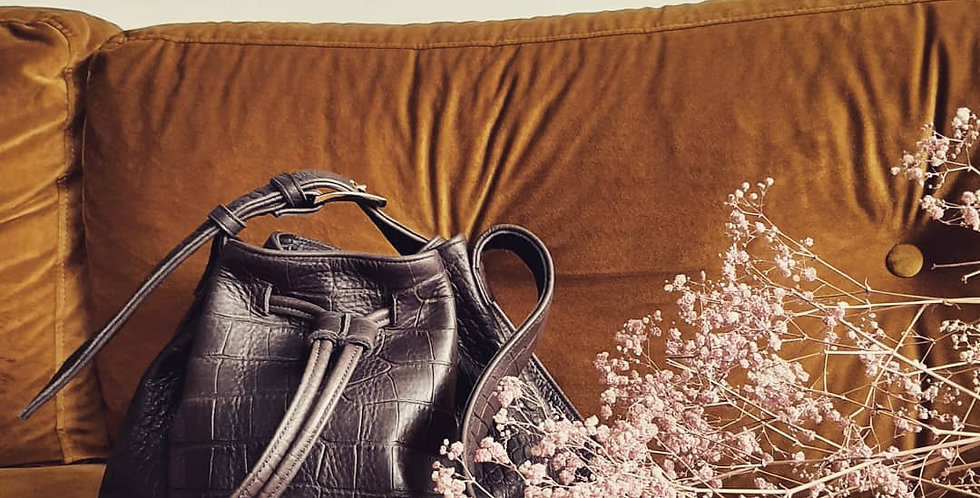"""Le sac petit"" brown crocodile bucket bag"