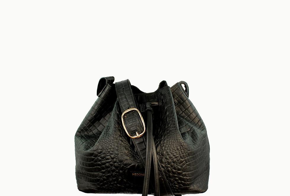 """Le sac"" black crocodile"