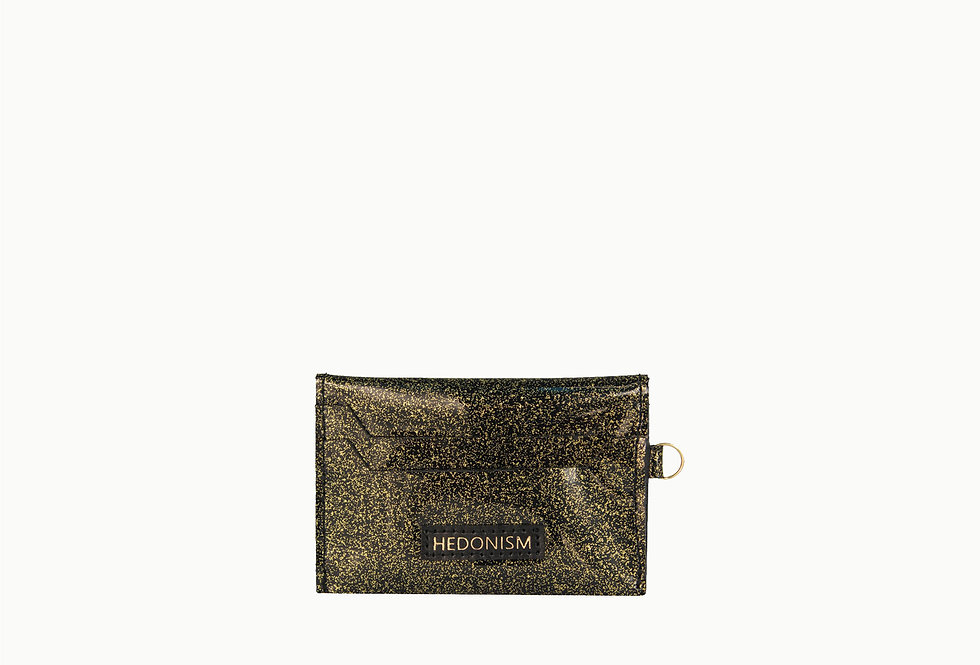 Patent black gold glitter cardholder, limited edition