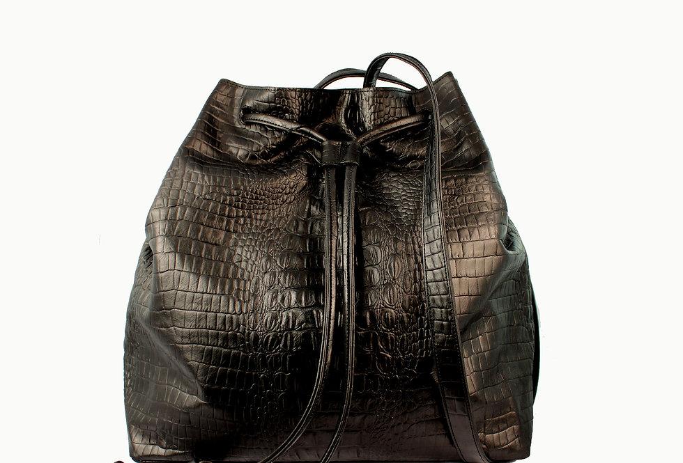 "Grand ""Le sac"" black crocodile"