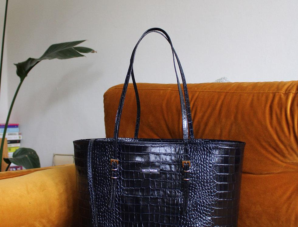 "Shopper ""Mimi"" deep blue crocodile"